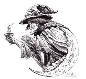 Salem Witch pen and ink illustration