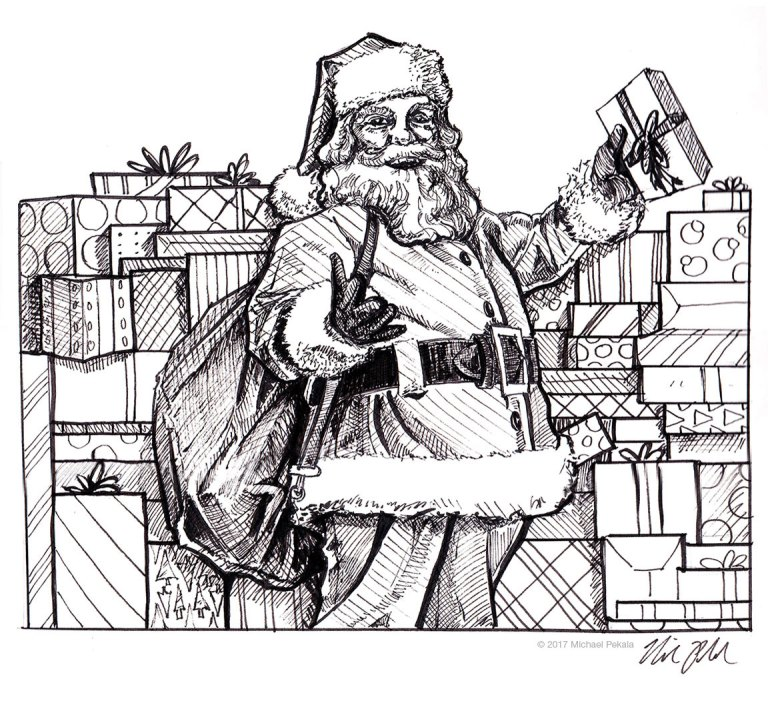 Santa Claus with gifts pen and ink illustration