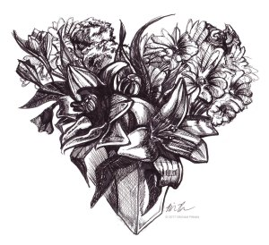 The Heart Shaped Flower Bouquet pen and ink illustration