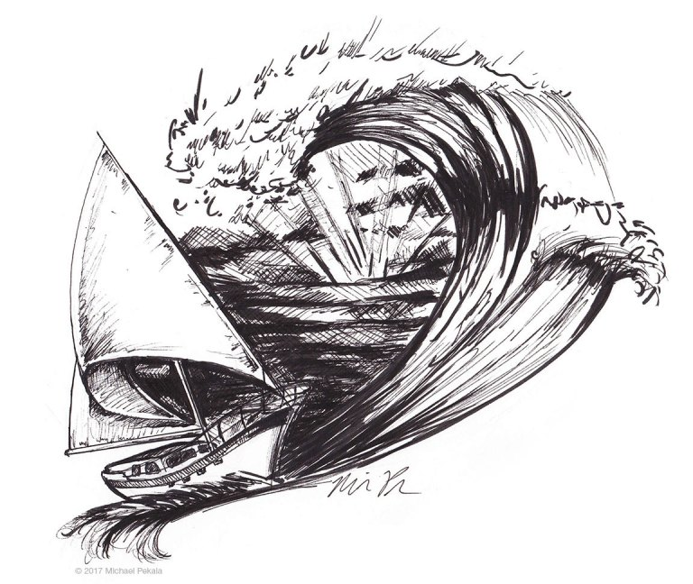 The Sailboat and the Ocean Wave pen and ink illustration