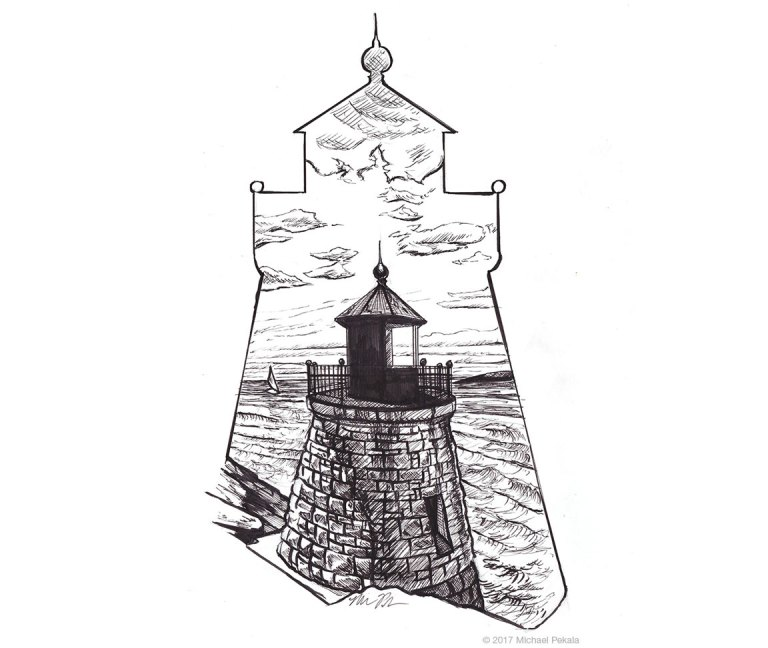 The Castle Hill Lighthouse, RI, pen and ink illustration