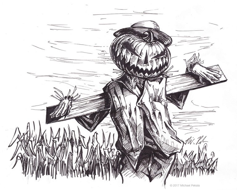 The Scarecrow pen and ink illustration