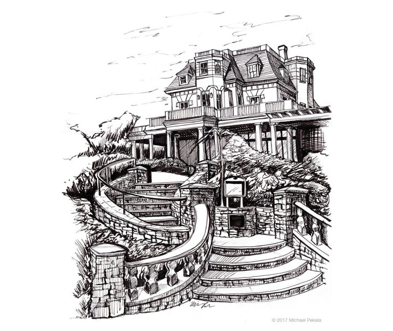 The Chanler Mansion in Newport, RI pen and ink illustration