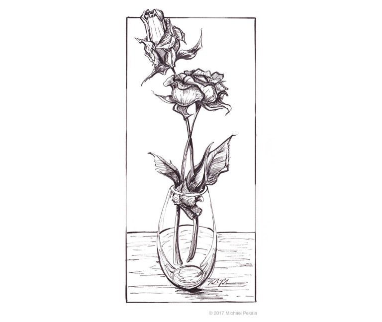 2 Flowers in a vase pen and ink illustration