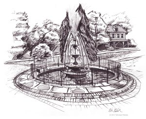 Marshall Square Park Fountain in West Chester, PA pen and ink illustration