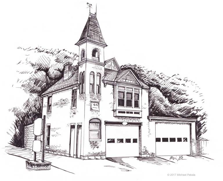 The Harris Fire Station in Coventry, RI pen and ink illustration