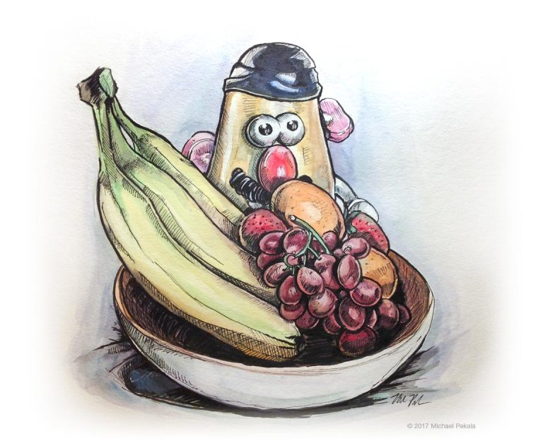 Mr. Potato Head in a Fruit Bowl watercolor with pen and ink illustration