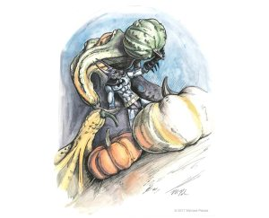 Vampire Batman surrounded by gourds watercolor with pen and ink illustration