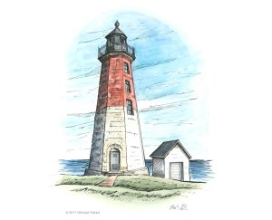 Point Judith Lighthouse watercolor with pen and ink illustration