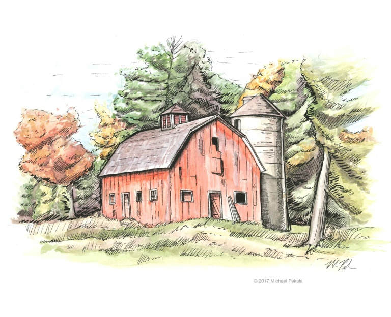 Red Barn in the fall foliage watercolor with pen and ink illustration