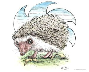 Cute hedgehog illustration in pen and ink and watercolor.