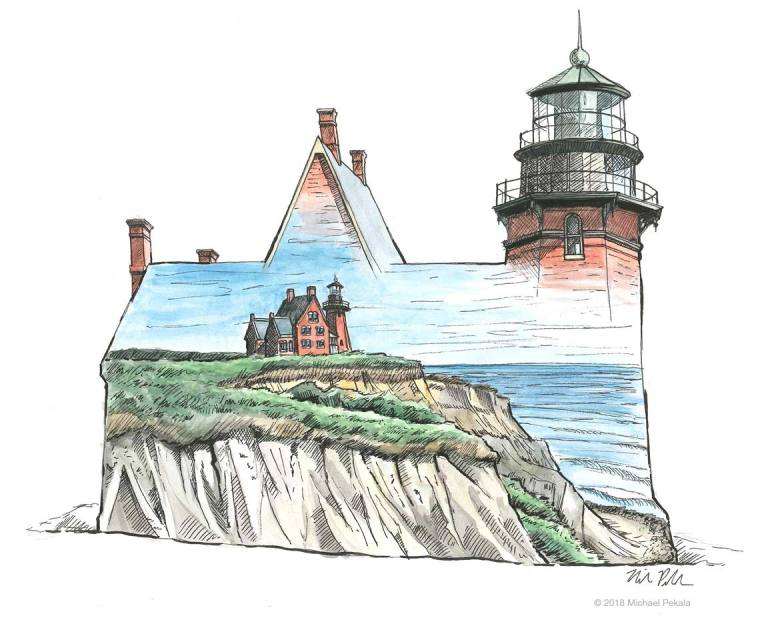 Block Island's Southeast Light illustration. Watercolor with pen and ink.