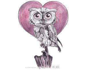 Owl and heart illustration watercolor with pen and ink
