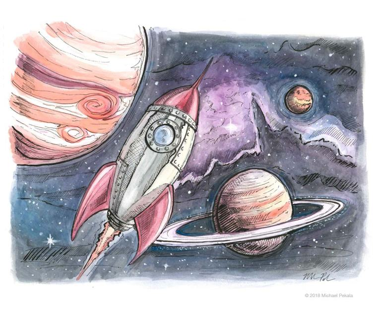 Rocket ship illustration watercolor with pen and ink