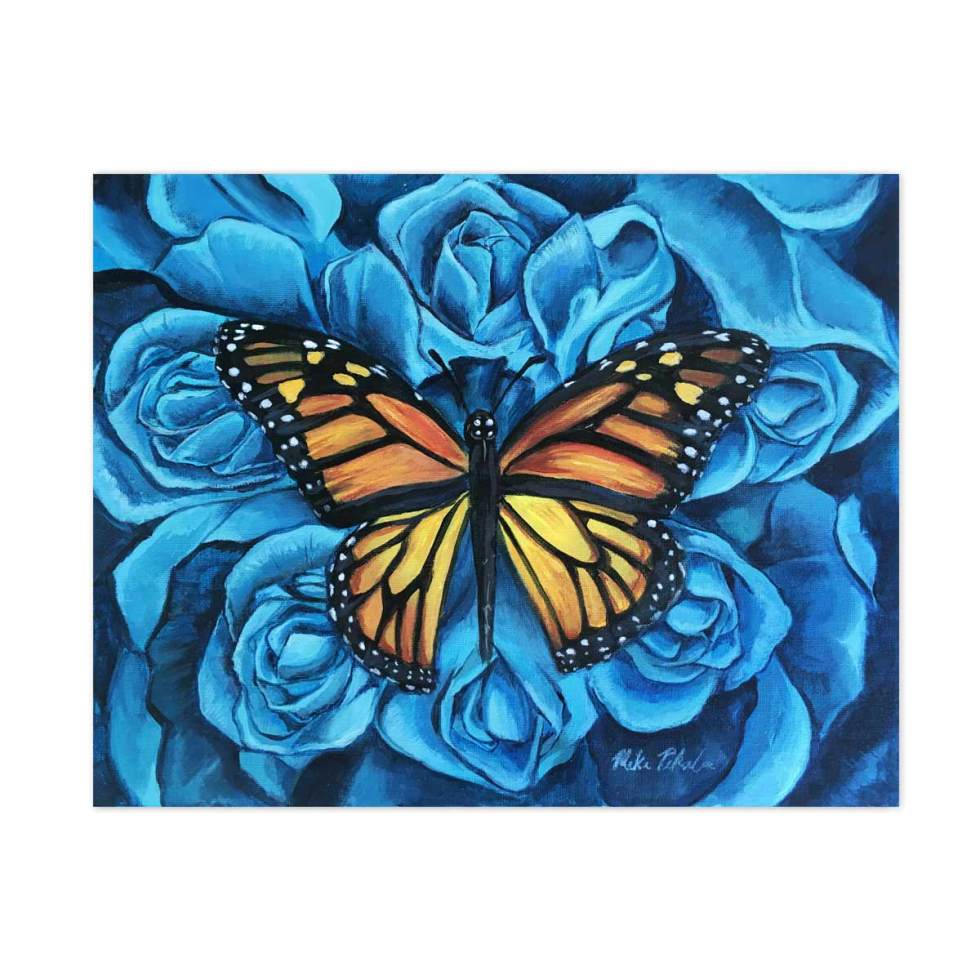 Butterfly and Blue Bouquet acrylic painting
