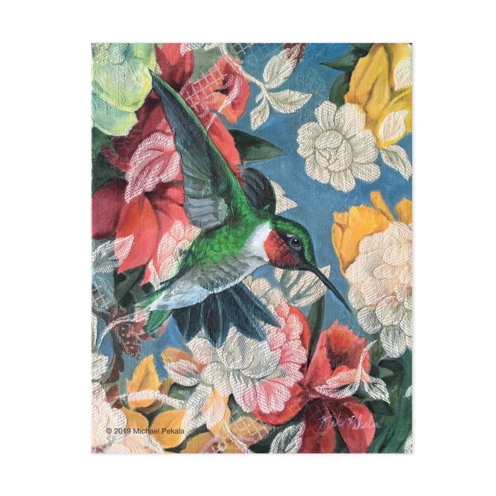 Acrylic hummingbird painting on fabric