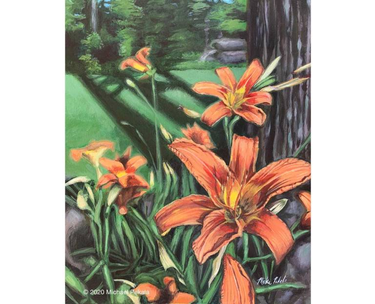 Day Lily Acrylic Painting