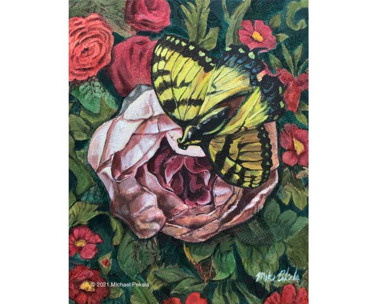 Acrylic Butterly Painting on Stretched Upholstery Fabric