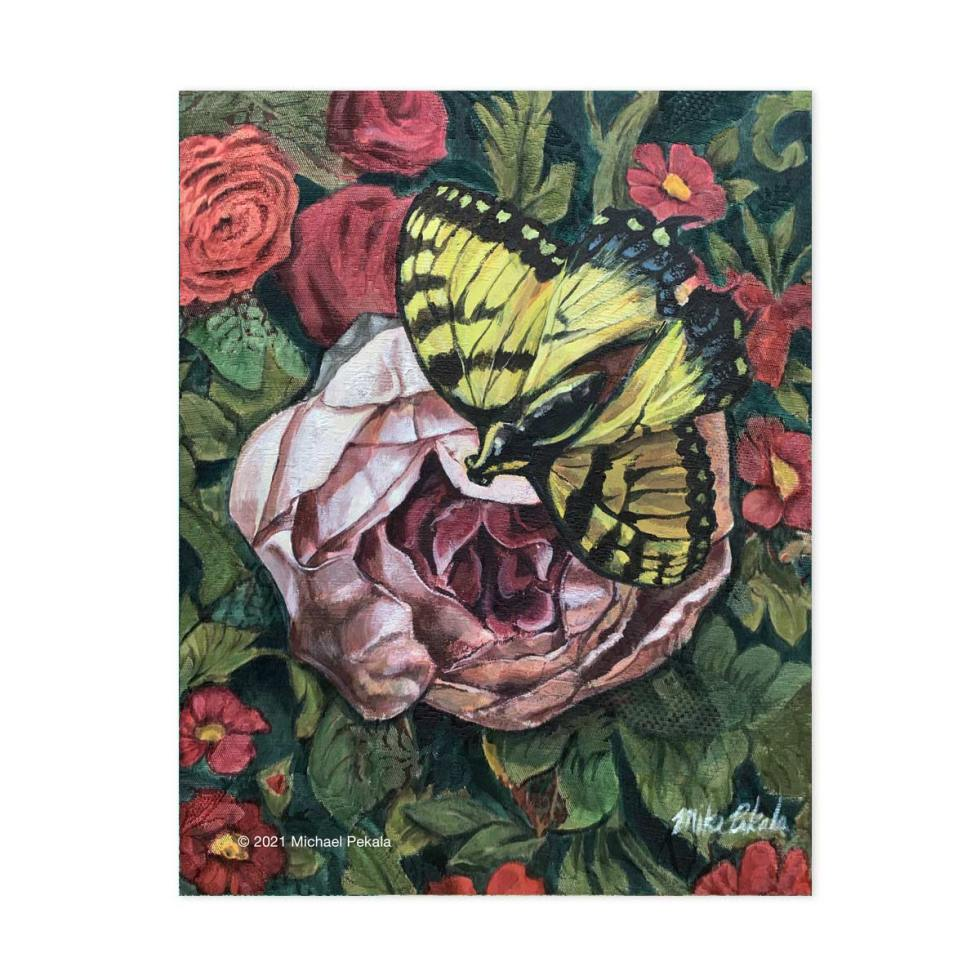 Acrylic Butterfly Painting on Stretched Upholstery Fabric
